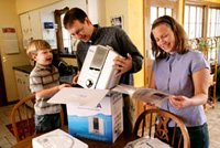 Family opening athena water ionizer box