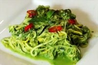 Raw Food Diet: Roasted Raw (Alkaline Food) Spaghetti with Pesto Sauce
